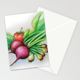 Fresh vegetables, beetroot, onions, salad, tomato for cooking, on a kitchen table. Stationery Cards
