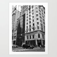 Black and White. Fifth Avenue, New York. Art Print