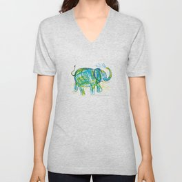 An elephant pattern, elephant illustration, elephant drawing, elephant design Unisex V-Neck
