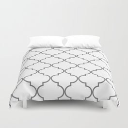 Quatrefoil - Gray and White Duvet Cover