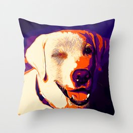 labrador retriever dog winking vector art late sunset Throw Pillow