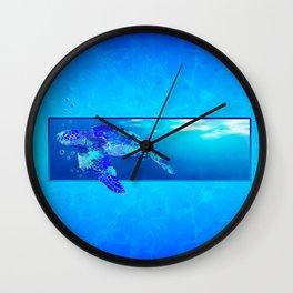 Underwater Swimming Sea Turtle Wall Clock