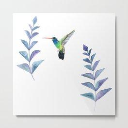 Hummingbird with tropical leaves watercolor design Metal Print