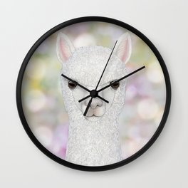 Alpaca farm animal portrait Wall Clock