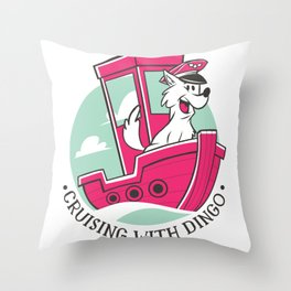 Boating with dog Throw Pillow