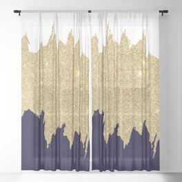 Modern navy blue white faux gold glitter brushstrokes Sheer Curtain