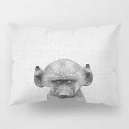 Baby Baboon - Black & White Pillow Sham