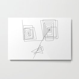 Mother - Modern Minimalism Illustration Abstract One Line Drawing Metal Print