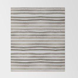 Simply Shibori Stripes Earth Brown on Lunar Gray Throw Blanket