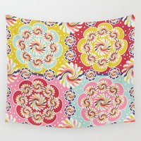 quilt Wall Tapestries featuring Mandala Quilt by Helene Michau