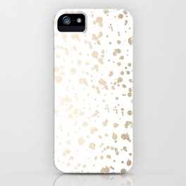 Luxe Gold Painted Dots on White iPhone Case