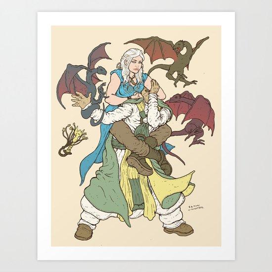 Mother of the Dragon Sleeper Art Print