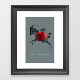 Love is a mad horse Framed Art Print
