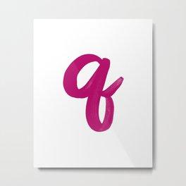 Scripted Monogram Q Metal Print