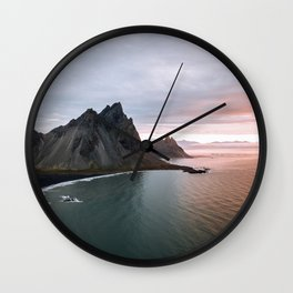 Iceland Mountain Beach Sunrise - Landscape Photography Wall Clock