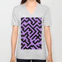Black and Lavender Violet Diagonal Labyrinth Unisex V-Neck