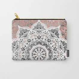 Dreamer Mandala White On Rose Gold Carry-All Pouch