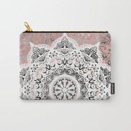Dreamer Mandala White On Rose Gold Carry-All Pouch