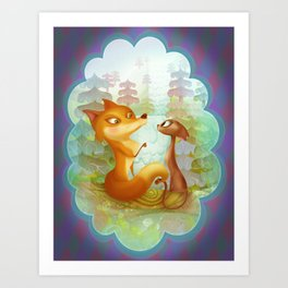 The Fox and the Cat Art Print