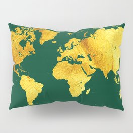 Forest Green and Gold Map of The World - World Map for your walls Pillow Sham