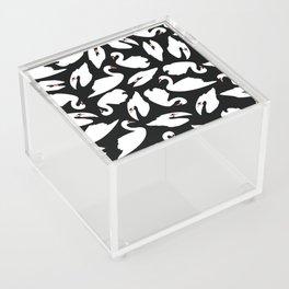 White Swans on Black seamless pattern Acrylic Box