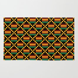Green, Dark Red, Yellow Gold Kente Cloth on Black Rug