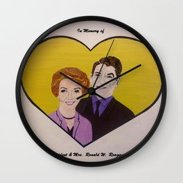 In Memory of President & Mrs. Ronald W. Reagan (Color) Wall Clock