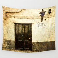 the office Wall Tapestries featuring Gibraltar, district police office by Fine Art by Rina