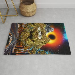 Hollywood, Los Angeles - Black Hole - City Of Angels - Digital Collage Artwork Rug