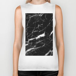 modern chic minimalist abstract black marble Biker Tank