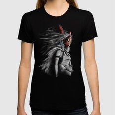 Miyazaki's Mononoke Hime Digital Painting the Wolf Princess Warrior Color Variation LARGE Womens Fitted Tee Black