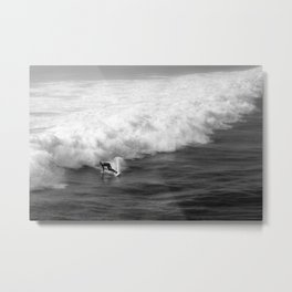 Lone Surfer in Black and White Metal Print