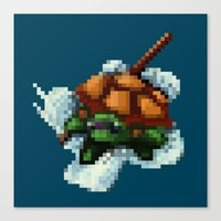 ninja turtle Canvas Prints featuring Baby Ninja Turtle - PixelArt by Tokka Train