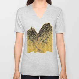 "遠望 series -""Gold Valley"" - Linocut Unisex V-Neck"
