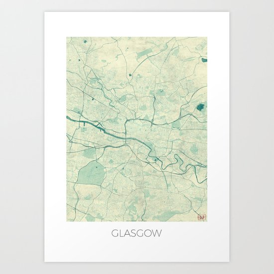 Glasgow Map Blue Vintage Art Print
