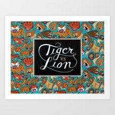Tiger VS. Lion Art Print
