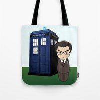 dr who Tote Bags featuring Kokeshi Dr. Who by Pendientera