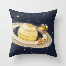 Sloth Happy Ride on Saturn Throw Pillow