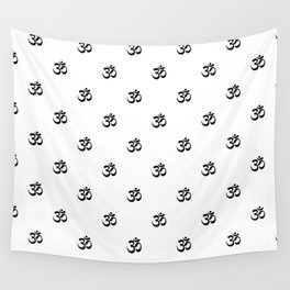 Black and White OM Pattern Wall Tapestry