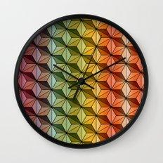 Wooden Asanoha Colorful Wall Clock