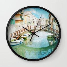 Venice (Italy) in watercolor Wall Clock