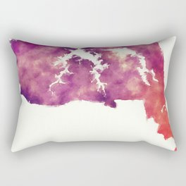 Virginia Beach VA city watercolor map in front of a white background Rectangular Pillow
