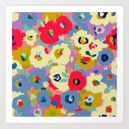 Bright camo flowers Art Print