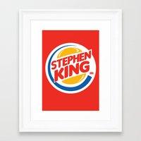 stephen king Framed Art Prints featuring Stephen King by Alejo Malia