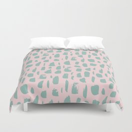 Handdrawn mint drops and dots on pink -Mix & Match with Simplicty of life Duvet Cover