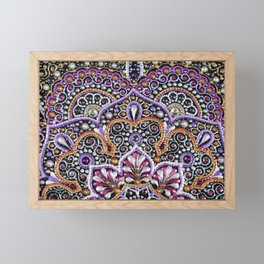 Purple and Bronze acrylic mandala Framed Mini Art Print