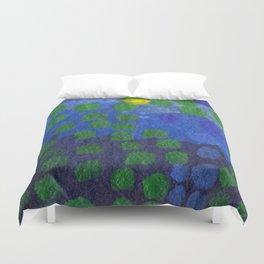 GREEN DOTS, A LITTLE ABSTRACT Duvet Cover