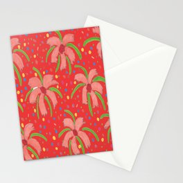 Red Tropical Fiesta Floral Print Stationery Cards