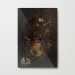 Brown steampunk clocks and gears Metal Print
