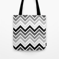 plain Tote Bags featuring ZigZag - Plain by Emelie Turander